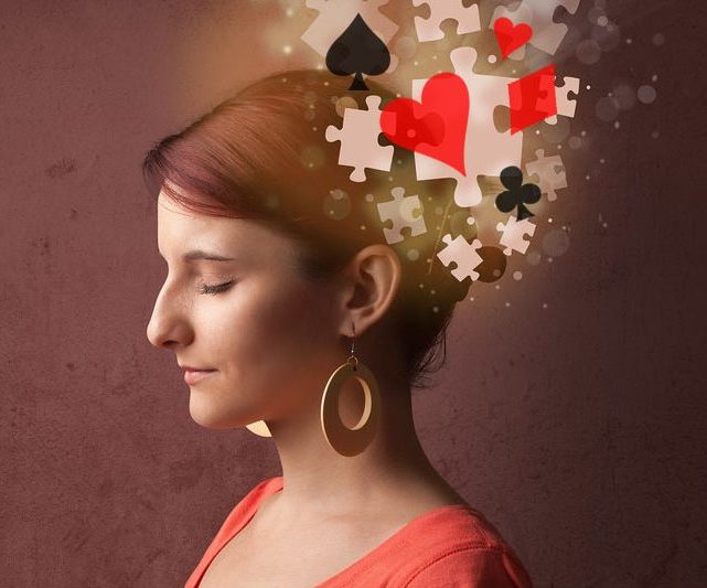 The girl with the flying puzzles out of her head