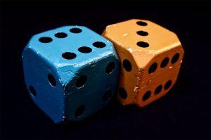 Blue dice and orange dice